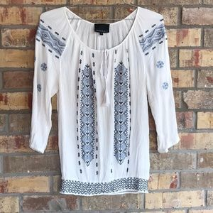 Cynthia Rowley White & Blues Embroidered Shirt M